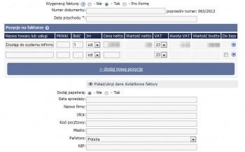 Generowanie faktury - inFirma CRM online