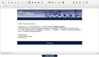 Szablony maili - system CRM inFirma.pl