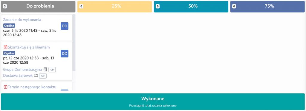 Postępy wykonania zadania w systemie CRM inFirma.pl wersji 3.4.0