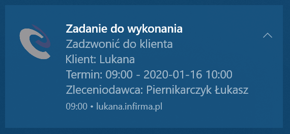 Powiadomienie push w systemie Windows 10 wygenerowany przez system CRM inFirma.pl