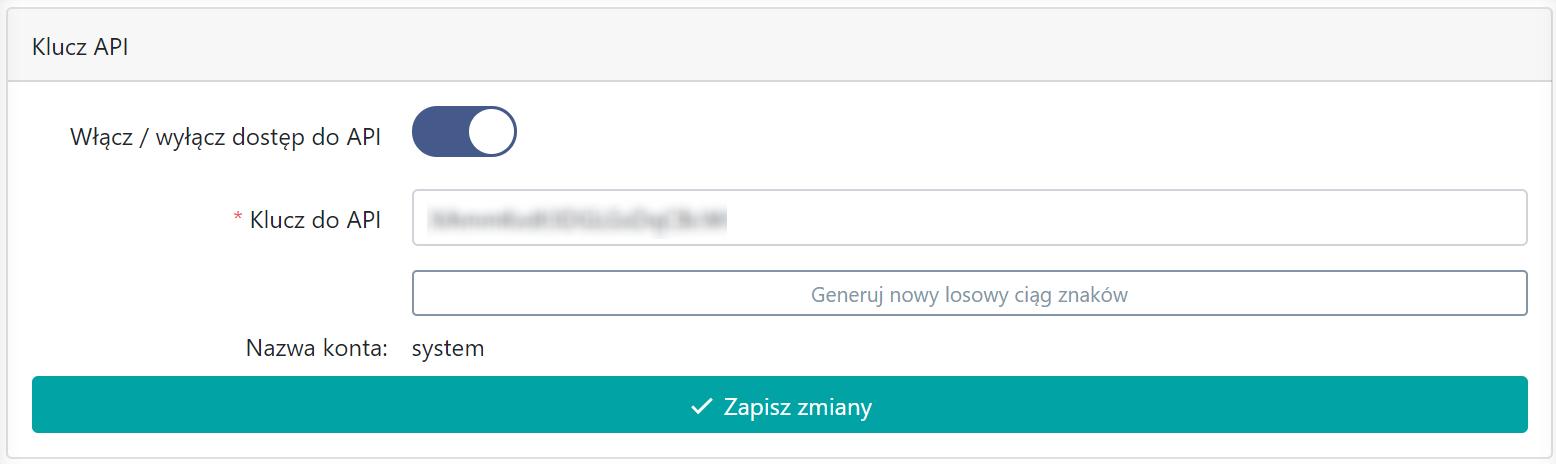 Ekran pozwalający włączyć dostęp do API
